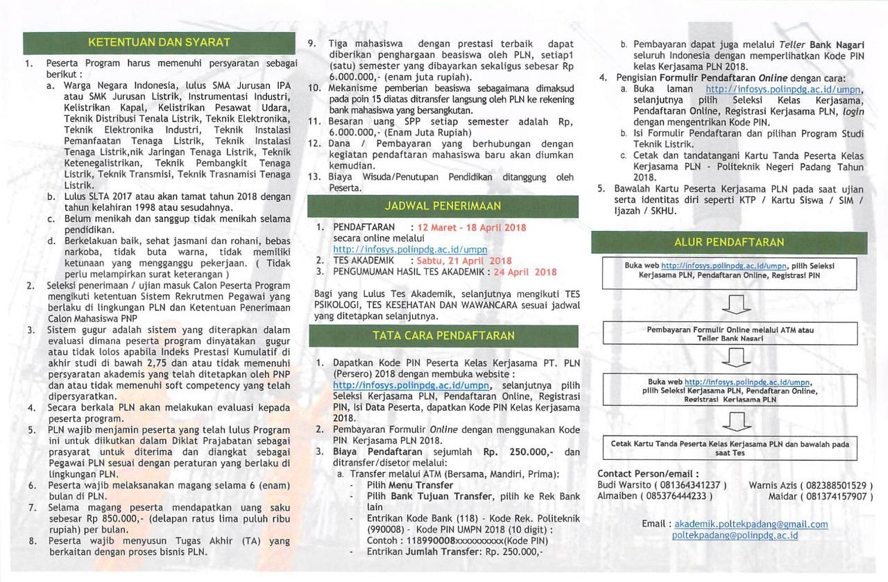 Penerimaan Mahasiswa Baru Kelas Kerjasama Pln Politeknik Negeri Padang